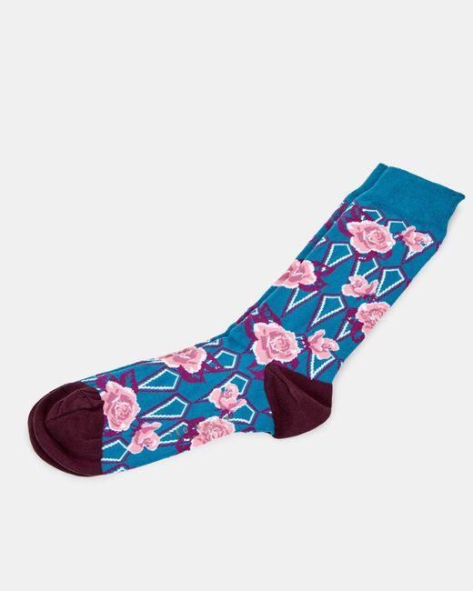 Ted Baker - Blue Floral Print Cotton Socks for Men - Lyst