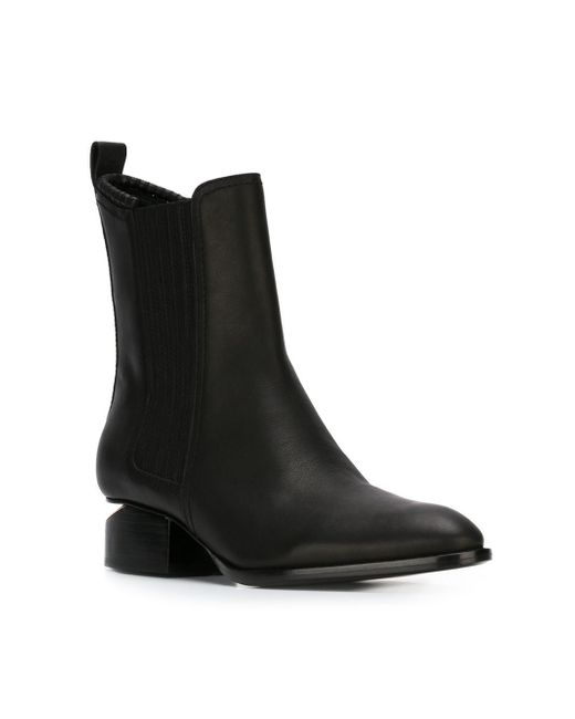 alexander wang anouck leather rosegold cutout ankle boots in black save 50 lyst. Black Bedroom Furniture Sets. Home Design Ideas