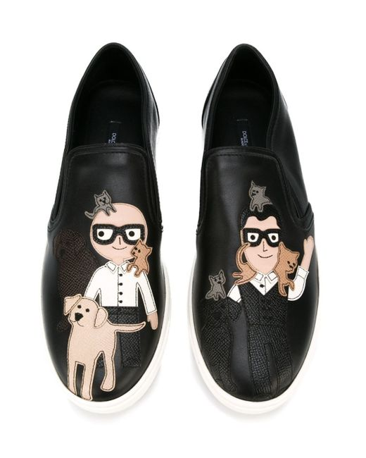 Dolce & Gabbana | Black Designers Patch Slip-on Sneakers | Lyst