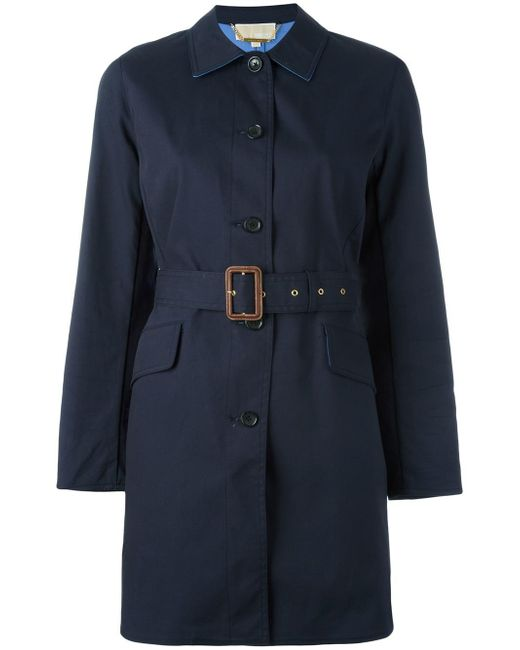 MICHAEL Michael Kors | Blue Belted Trench Coat | Lyst