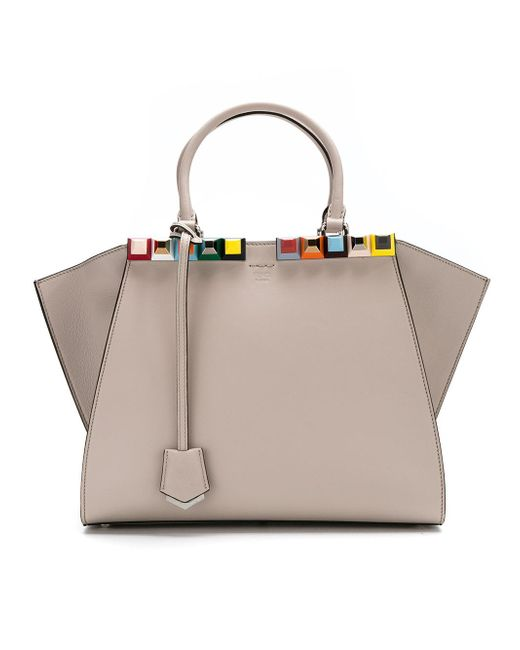 Fendi | Gray 3jours Handbag With Multicolor Studs | Lyst