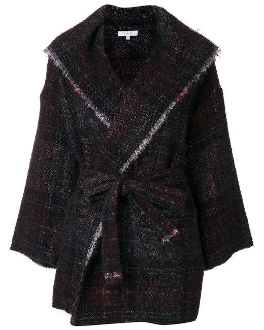 IRO | Black Check Frayed Edge Coat | Lyst