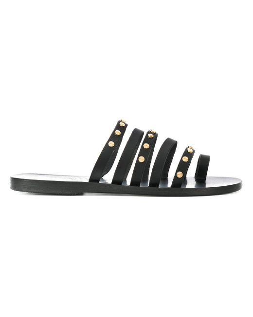 Black Niki Leather Sandals Ancient Greek Sandals SBPfgsMH