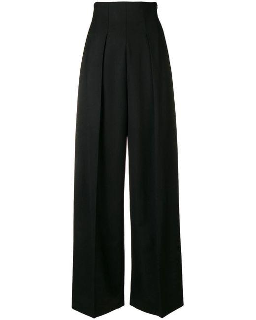 Sara Battaglia - Black High Waist Wool Trousers - Lyst
