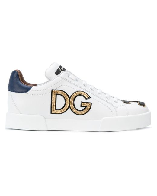 Dolce & Gabbana | White Embroidered Leather Sneakers | Lyst
