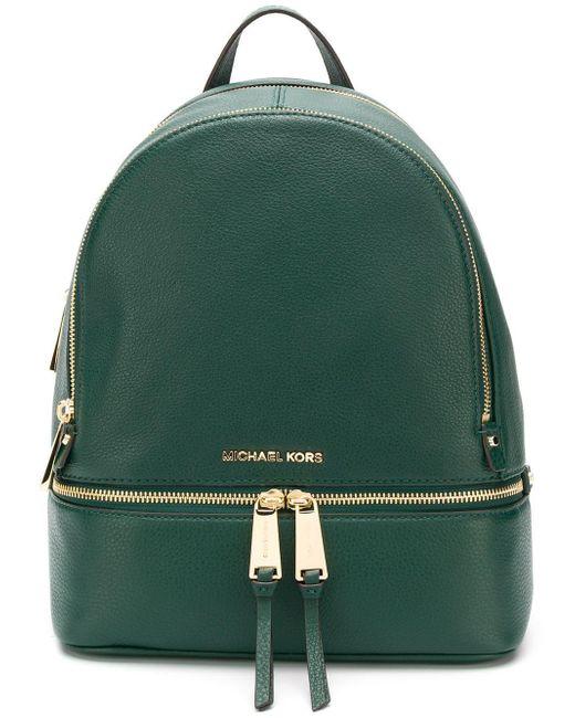 f06664ee6f9dda Lyst - MICHAEL Michael Kors Medium Rhea Backpack in Green - Save 46%