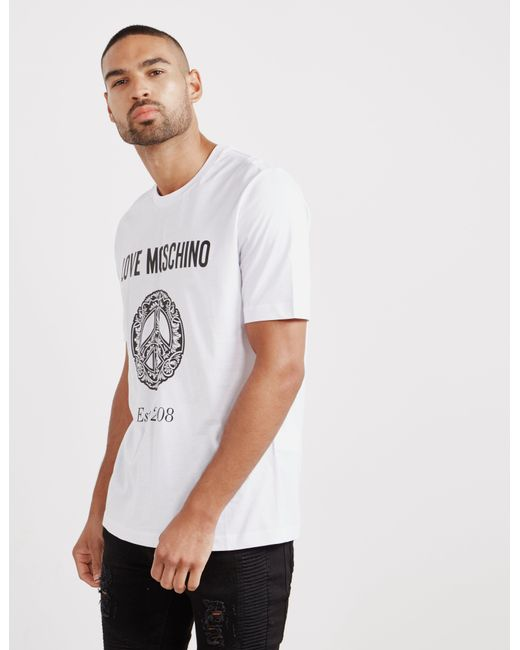 6239ddf3 Love Moschino - Peace Graphic Short Sleeve T-shirt White for Men - Lyst ...