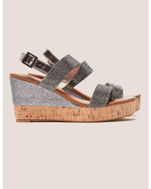 Ilse Jacobsen   Metallic Poppy Diamante Wedge Sandals   Lyst