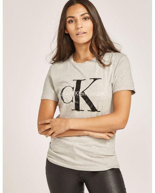 Calvin Klein   Gray Short Sleeve Shrunken T-shirt   Lyst
