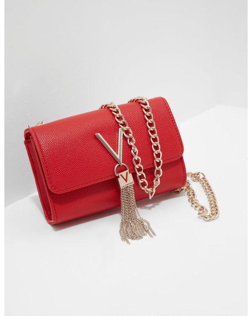 ad0fec10e8e88 Lyst - Valentino By Mario Valentino Divina Chain Shoulder Bag Red in ...