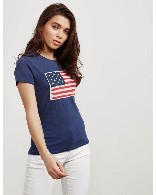 Polo Ralph Lauren - Womens Flag Short Sleeve T-shirt Navy Blue - Lyst