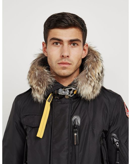 ... Parajumpers - Black Right Hand Light 700 Fill Waterproof Power Down Jacket With Genuine Coyote Fur ...