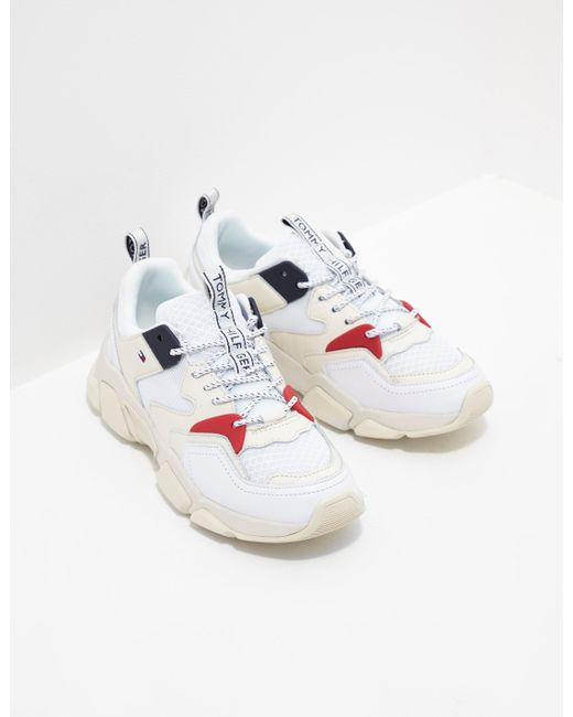 a0266566 Tommy Hilfiger Chunky Mixed Trainers White in White - Save 2% - Lyst