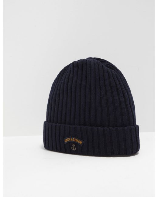 Paul   Shark - Mens Ribbed Knitted Logo Beanie Navy Blue for Men - Lyst ... 5a0bfc7fad32