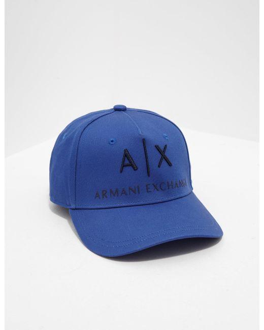 7ee1c944 Armani Exchange Cotton Logo Cap Blue in Blue for Men - Save 58% - Lyst