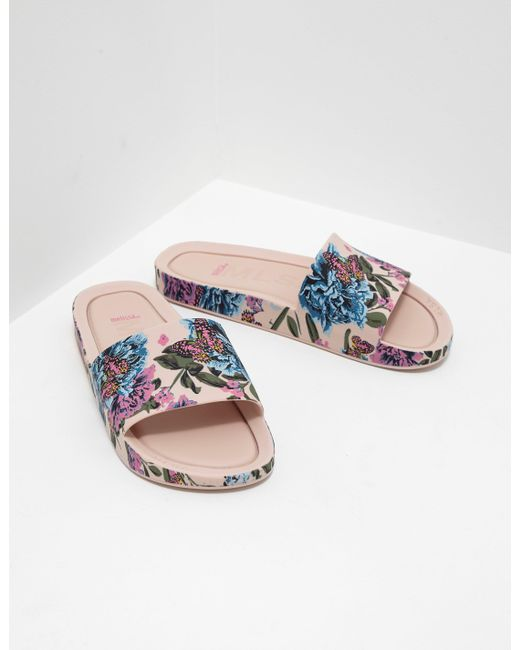 lyst melissa womens floral slides pink in pink save