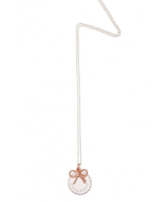 Olivia Burton - Metallic Coin & Bow Necklace - Lyst