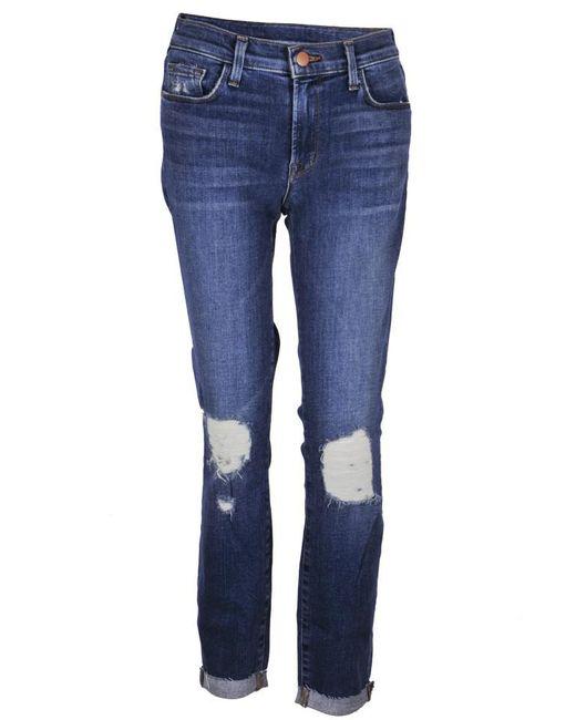 J Brand - Blue Mid Capri Jeans - Lyst