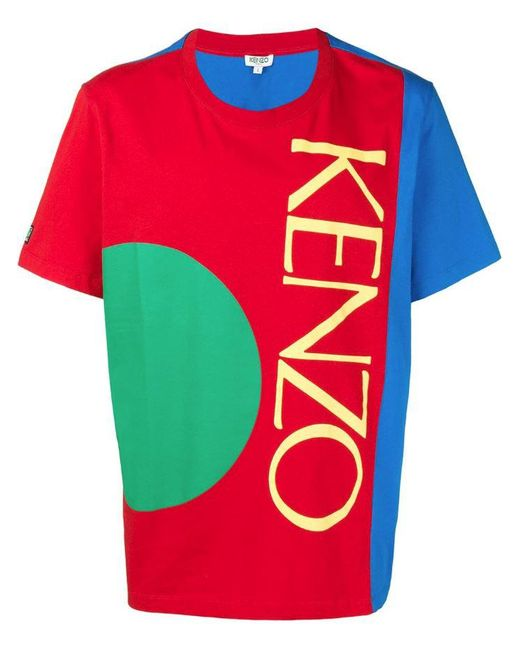 acca93e79ec5 Lyst - KENZO Logo Colour-block T-shirt in Red for Men - Save 23%