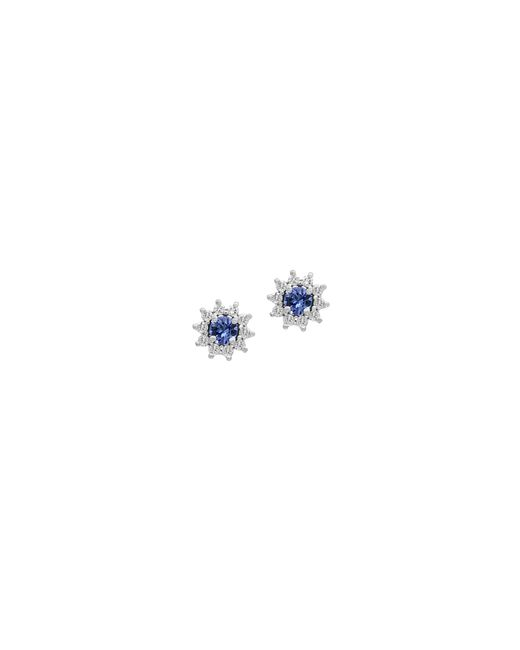 Effy | Blue 14k White Gold Tanzanite And 0.25tcw Diamond Stud Earrings | Lyst