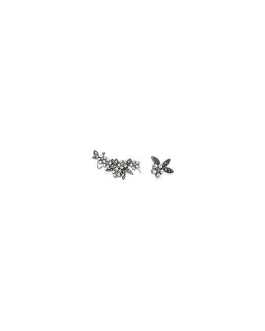 Lord & Taylor | Gray Mismatch Floral Stone Cuff Earrings | Lyst