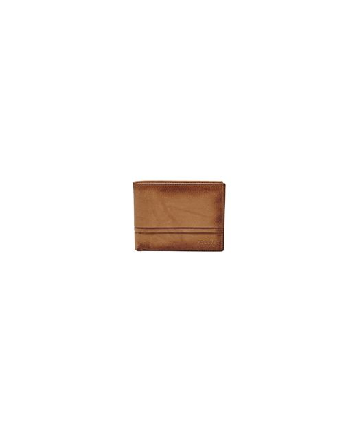 Fossil | Brown 'derrick' Leather Flip Trifold Wallet for Men | Lyst
