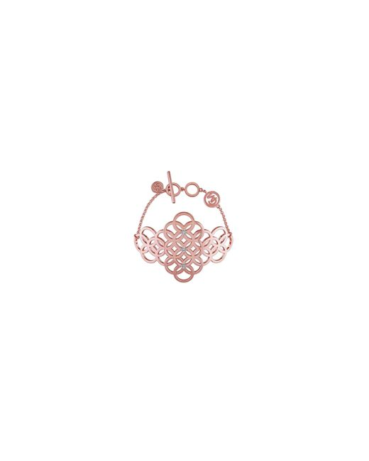 Catherine Malandrino | Pink 18k Rose Goldplated And 0.1tcw Diamond Circle Linked Cluster Bracelet | Lyst