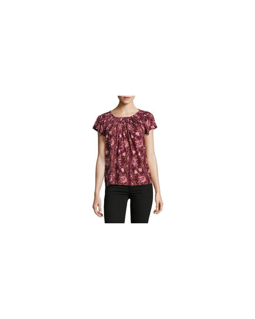 Style & Co. | Red Petite Floral Print Pleated Top | Lyst