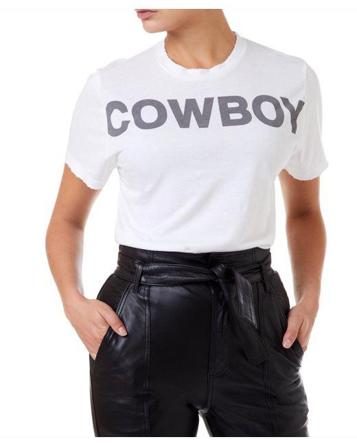 Filles A Papa Cowboy Distressed Tee Women White T-shirt