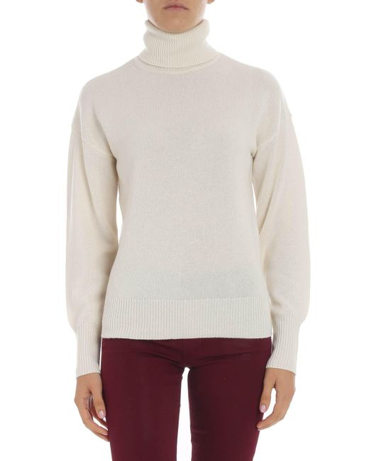 Theory - Natural Cream Colored Dropped Shoulder Turtleneck - Lyst