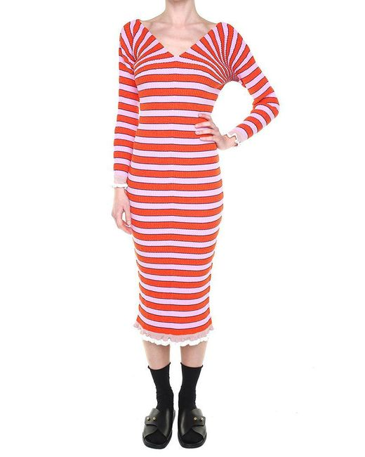 KENZO - Red Knitted Striped Dress With Ruffles - Lyst