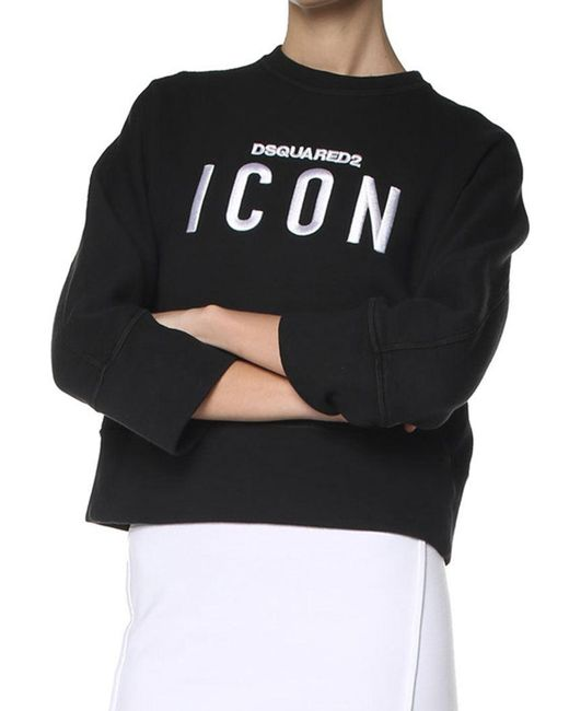 DSquared² - Black Crop Sweatshirt - Lyst