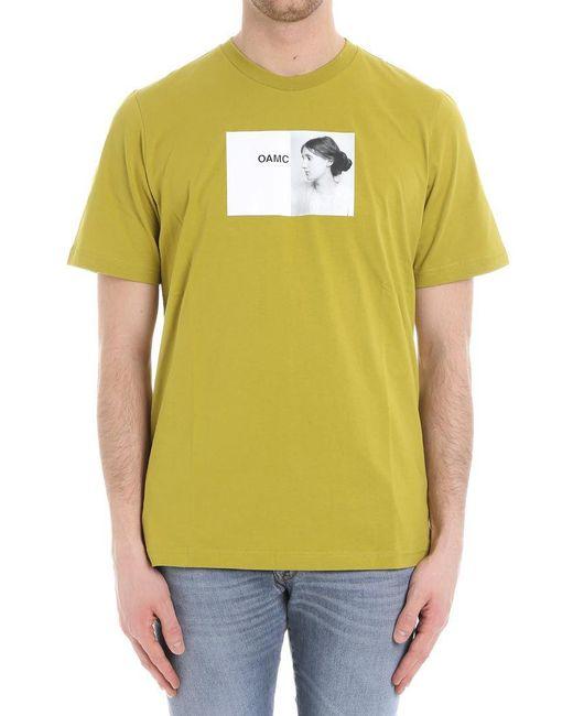OAMC - Green Portrait Printed T-shirt for Men - Lyst