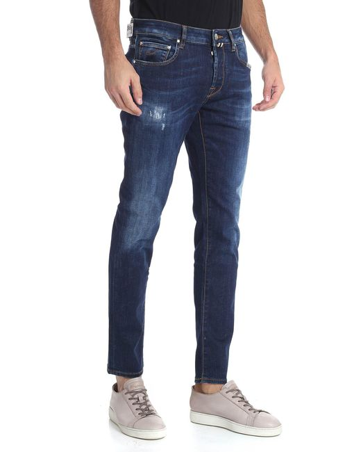 d6c65481 ... Jacob Cohen - 5-pocket Blue Jeans With Vintage Effect for Men - Lyst ...