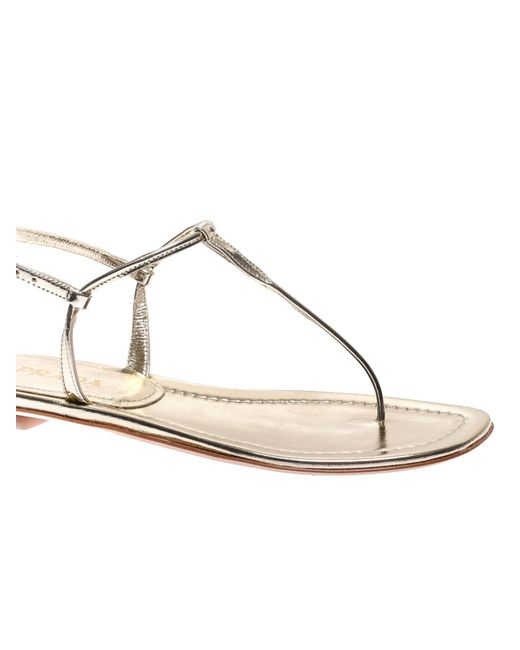 eedaff65363 ... Prada - Multicolor Laminated Leather Thong Sandals - Lyst