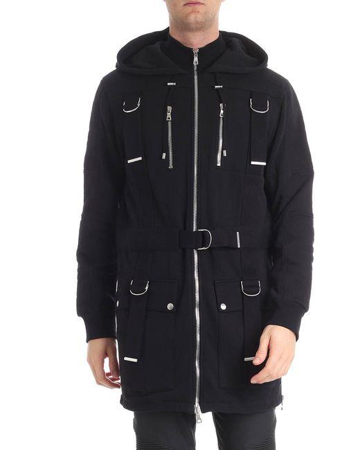 Balmain - Black Fleece Cotton Sweatshirt for Men - Lyst