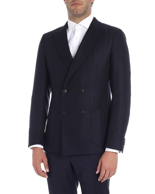 760bfacc222 Z Zegna Black And Blue Double-breasted Jacket in Black for Men - Lyst