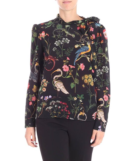 RED Valentino - Red Black Blouse With Multicolor Jungle Print - Lyst