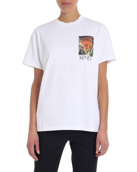 07be5f62 Lyst - KENZO White T-shirt With Logo in White