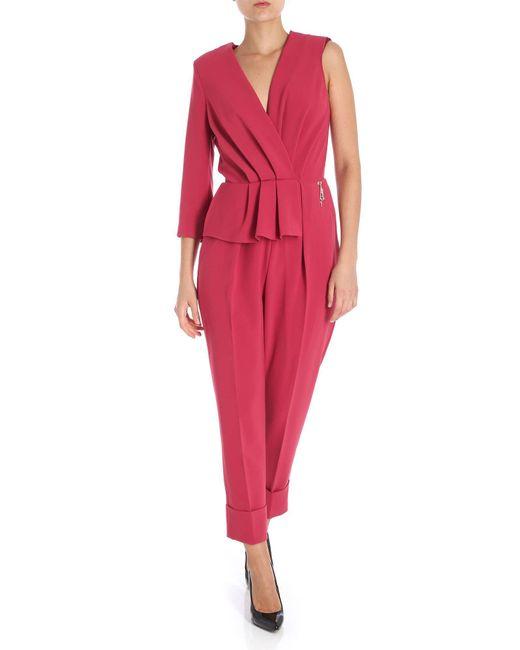 Elisabetta Franchi - Red Raspberry Draped One-piece Jumpsuit - Lyst
