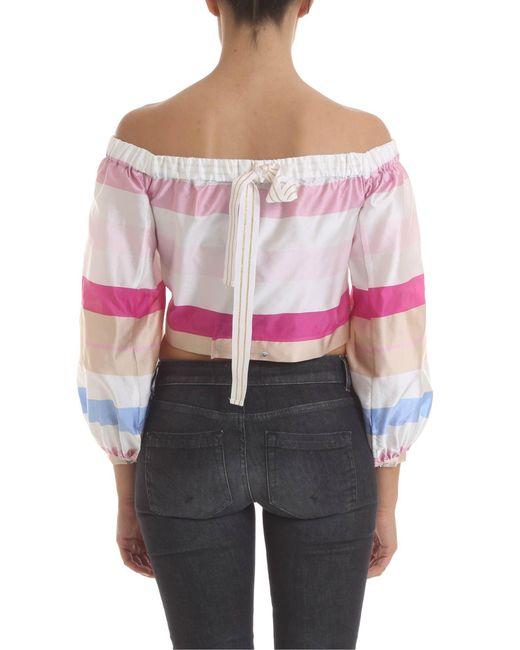 4343fbe6e9ffe ... Manila Grace - Pink Crop Top In Striped Fabric - Lyst ...