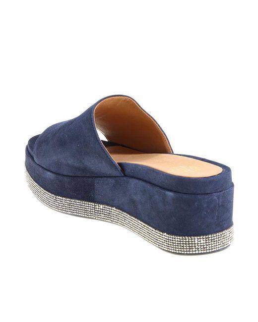 Blue suede and rhinestones platform slippers Eleventy 7TOnB