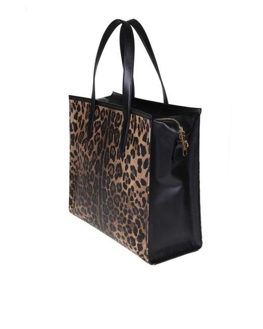 ab23eac445 ... Lyst Dolce   Gabbana - Black Leopard Medium Market Shopping Tote ...