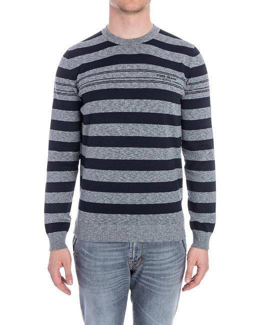 Stone Island - Blue Crewneck Sweater for Men - Lyst