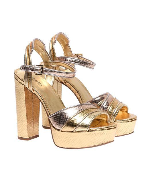 d36213e94b1b ... Michael Kors - Harper Platform Sandals In Metallic Leather - Lyst ...