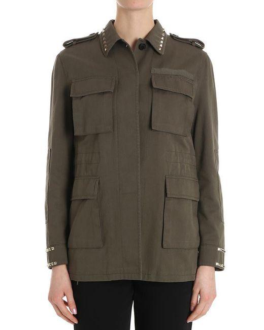 Valentino - Green Cotton Field Jacket (rockstud Untitled) - Lyst
