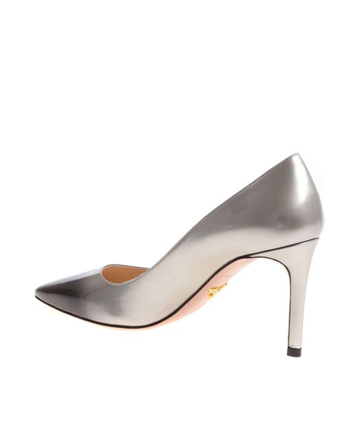 4b49f3de3caa ... Prada - Gray Patent Leather Pumps - Lyst ...
