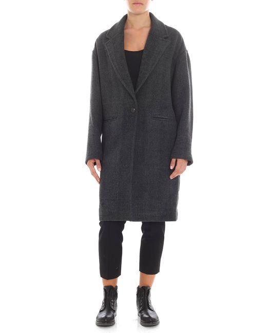 IRO - Black And Grey Melange Overfit Overcoat - Lyst
