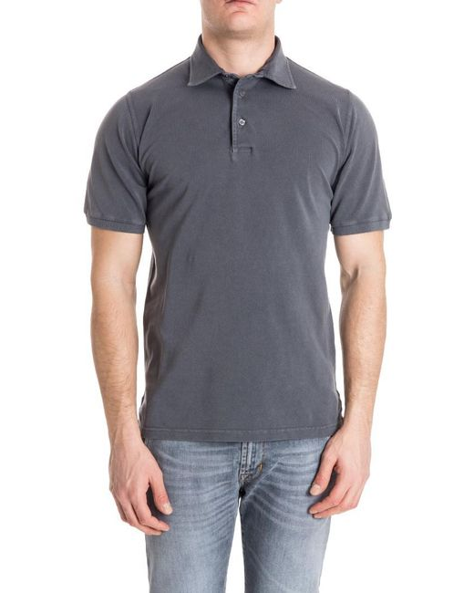 Fedeli - Gray Cotton Polo for Men - Lyst