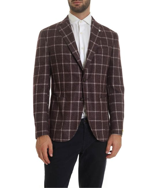 L.b.m. 1911 Multicolor Checked Jacket In Burgundy Color for men